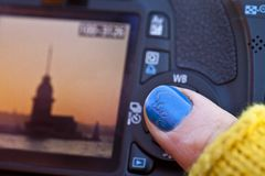 Checking photographs Stock Photo