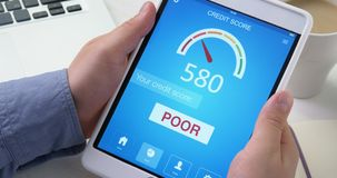 Checking poor credit score on digital tablet