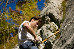 Checking rope and harness stock photography