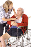 Checking seniors heartbeat Stock Images