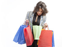Checking the shopping bags Royalty Free Stock Image