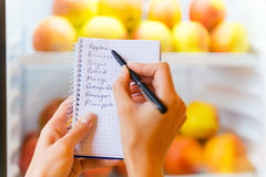 Checking shopping list. Stock Photos
