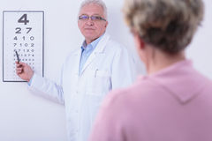 Checking the sight. Older ophthalmologist checking his older patient's sight Royalty Free Stock Images