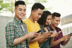 Checking social media Stock Image