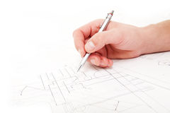 Checking technical drawings Stock Images