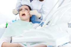 Checking the teeth up Stock Photography