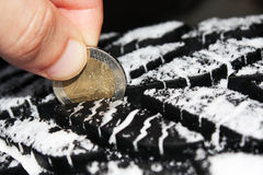 Checking tire tread depth with a two euro coin Royalty Free Stock Photos
