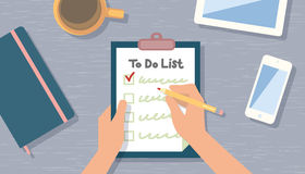Checking on To Do List. Top View Stock Images