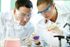 Checking up chemical reaction Royalty Free Stock Photo