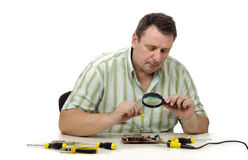 Checking the video card in laboratory Stock Images