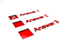 Checkkästen für Übersicht oder Fragebogen Stockbilder