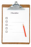 Checklist. And Clipboard with white background Stock Photography