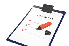 Checklist. Blank checklist and red marker Stock Image