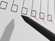 Checklist. Details of a pen and a checklist form Royalty Free Stock Photos