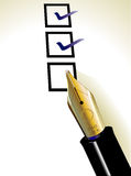 Checklist. Checking boxes on checklist with fountain pen Stock Images