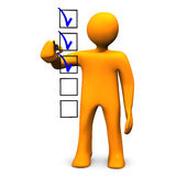 Checklist. Orange cartoon character makes a checklist, on white background Royalty Free Stock Photos