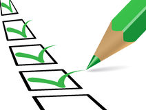 Checklist. Green pencil answering questionnaire with green ticks royalty free illustration