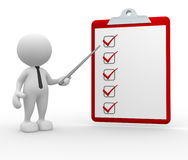 Checklist. 3d people - man, person with a clipboard. Checklist Royalty Free Stock Photography