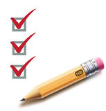 Checklist. Vector illustration of a checklist with a detailed pencil checking off tasks Stock Photos