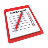 Checklist 3d. Checklist and pencil isolated on a white background (3d render&#x29 Royalty Free Stock Photo