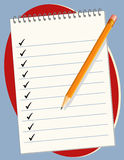 Checklist. On a steno pad with pencil. Copy space to add your own text. EPS in groups for easy editing Stock Photo
