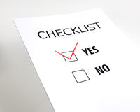 Checklist. On grey background, yes - no Stock Images