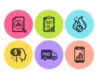 Checklist, Analytics graph and Pay icons set. Hot loan, Free delivery and Graph phone signs. Vector stock illustration