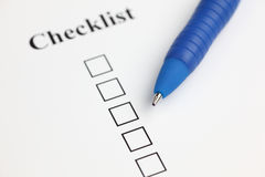 Checklist. And ballpoint pen. Close-up Stock Image