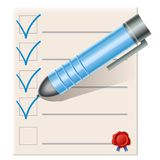 Checklist with blue pen Royalty Free Stock Image