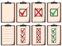 Checklist boards. A set of boards with different types of checklists Royalty Free Stock Photography