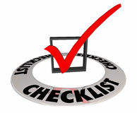 Checklist Box Mark Finished Complete Word. 3d Illustration Royalty Free Stock Photography