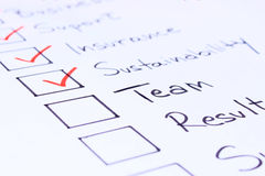 Checklist with business concepts. Checklist of things needed to start a business Stock Photos