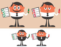 Checklist. Businessman with checklist in 4 versions. No transparency and gradients used Royalty Free Stock Photos