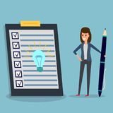 Checklist, businesswoman, pen, idea bulb. Happy businesswoman holding pen or pencil, looking at checklist with idea bulb on clipboard. To-do list and planning royalty free illustration
