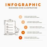 Checklist, check, expertise, list, clipboard Infographics Template for Website and Presentation. Line Gray icon with Orange. Infographic style vector royalty free illustration
