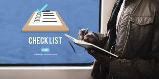 Checklist Choice Decision Document Mark Concept. People Making Checklist Choice Decision Marking Stock Images
