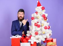 Checklist christmas preparation. Christmas gifts and decorations. How to organize awesome office christmas party. Preparation and celebration. Man bearded stock photography