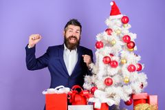 Checklist christmas preparation. Christmas gifts and decorations. Preparation and celebration. How to organize awesome. Office christmas party. Man bearded royalty free stock images