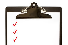 Checklist on Clipboard royalty free stock photos