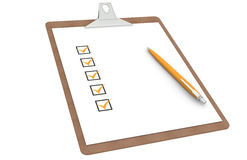 Checklist on Clipboard. Orange Marks and Pen Royalty Free Stock Image