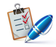 Checklist on a clipboard Royalty Free Stock Image
