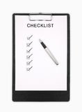 Checklist. Clipboard with checklist and pen  on white background Stock Photography
