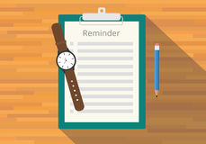 Checklist clipboard reminder. Watch pencil flat vector Royalty Free Stock Photography