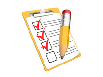 Checklist and Clipboard with white background Royalty Free Stock Image