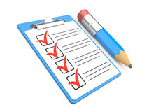 Checklist and Clipboard with white background Royalty Free Stock Photography