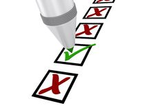 Checklist. With a column of boxes marked with red X or a green check mark Royalty Free Stock Photo
