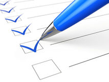 Checklist concept - checklist, paper and pen Royalty Free Stock Photo