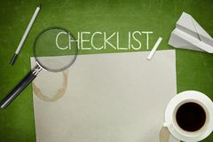 Checklist concept on green blackboard with empty Stock Photos