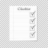 Checklist concept. To do list on school notebook paper. Checkmark stock illustration