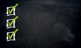 Checklist with Copyspace blackboard template stock photos